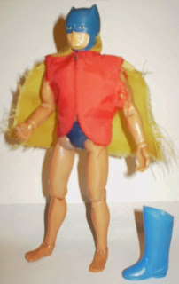 My Mego Batman action figure in Robin's red vest with attached yellow cape