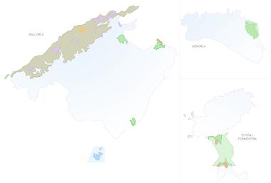 Ubicación de los espacios naturales de Balears