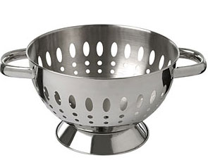 A colander is a bowl-shaped filter used in cooking to drain liquors from  foods