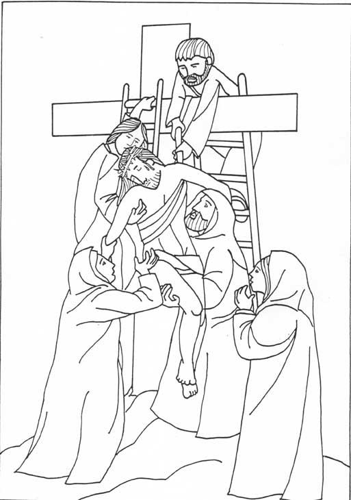 Dibujos Cristianos Para Colorear: Bajando a Jesus de la cruz para ...