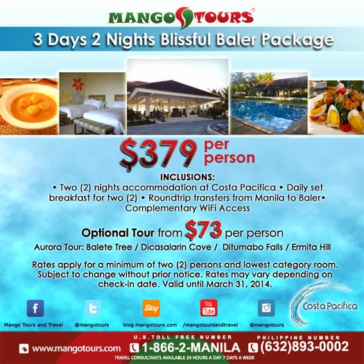 Mango Tours Baler Aurora Costa Pacifica Raintree Resort Blissful Baler Package