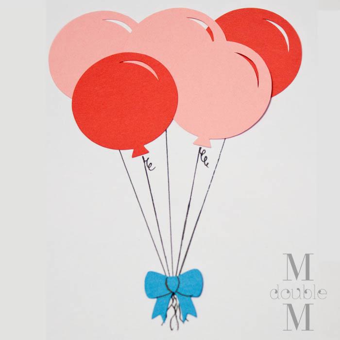 M double M Balloon birthday card DIY – Birthday Cards Balloons