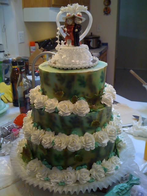 Frosted Art Camouflage Wedding Cake By Leah