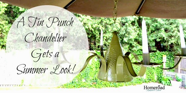 A Tin punch chandelier gets a summer makeover www.homeroad.net
