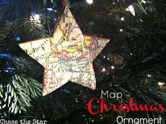 wood star, ornament, map, mod podge, christmas, holiday, ornament exchange, christmas tree