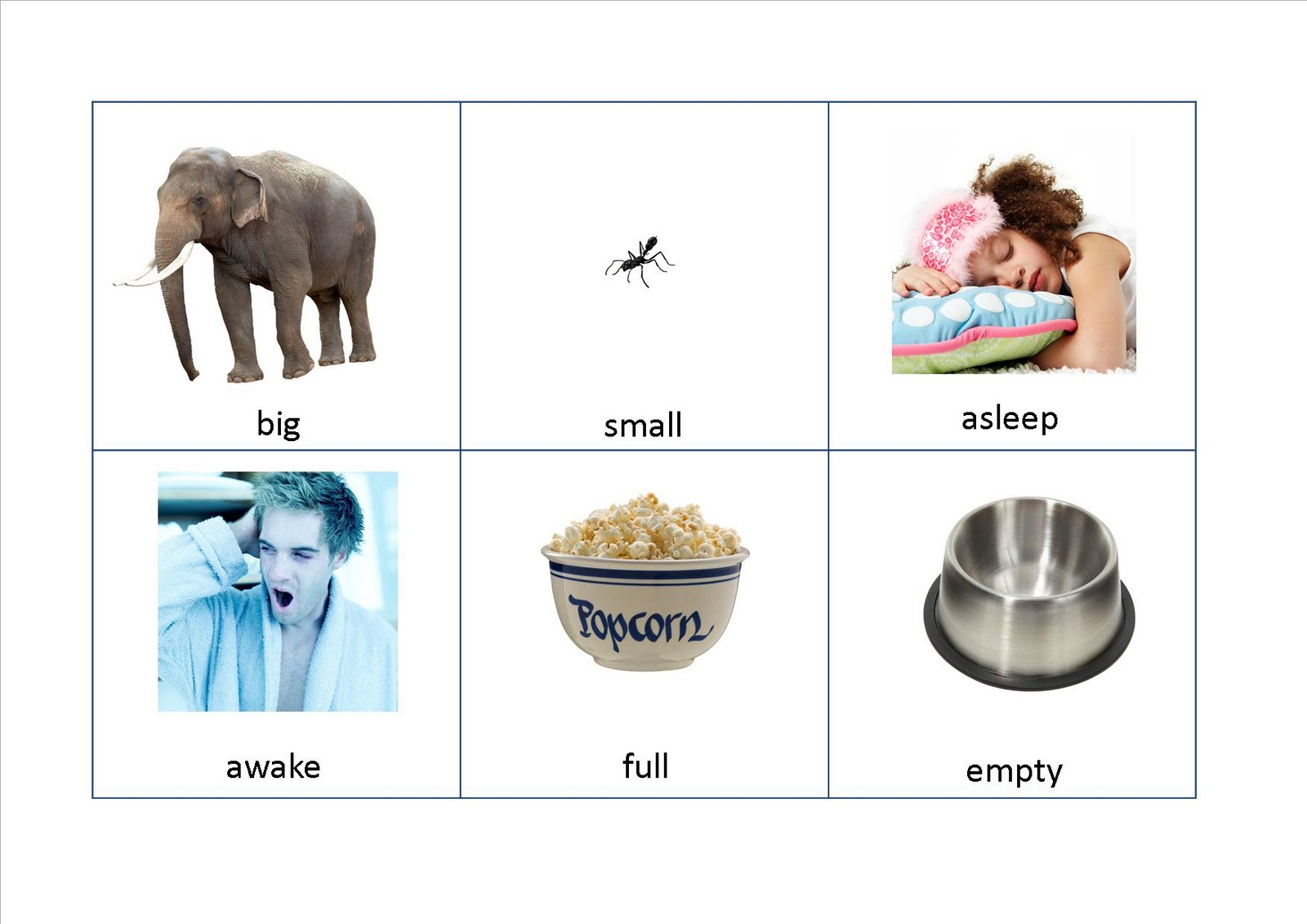 adjectives flashcards, opposites flashcards, game cards