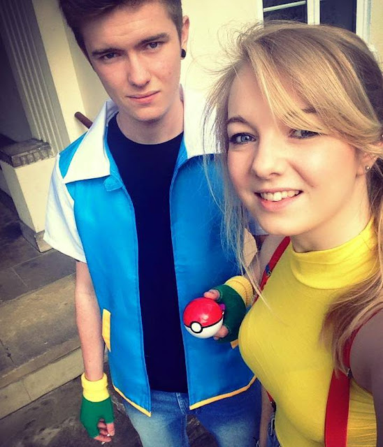 A photo dressed up as Ash and Misty pokemon cosplay comic con