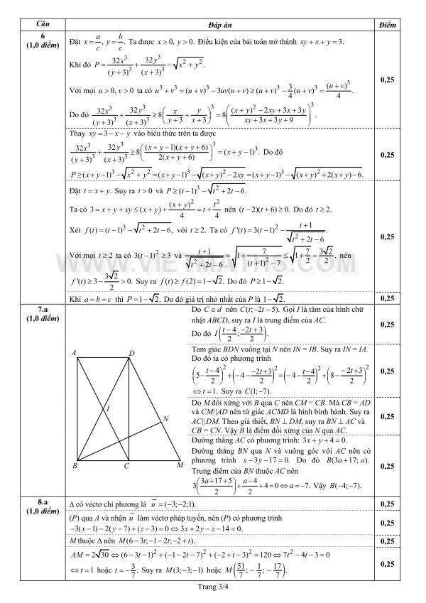 Đáp án đề thi đh môn Toán khối A A1 năm 2013