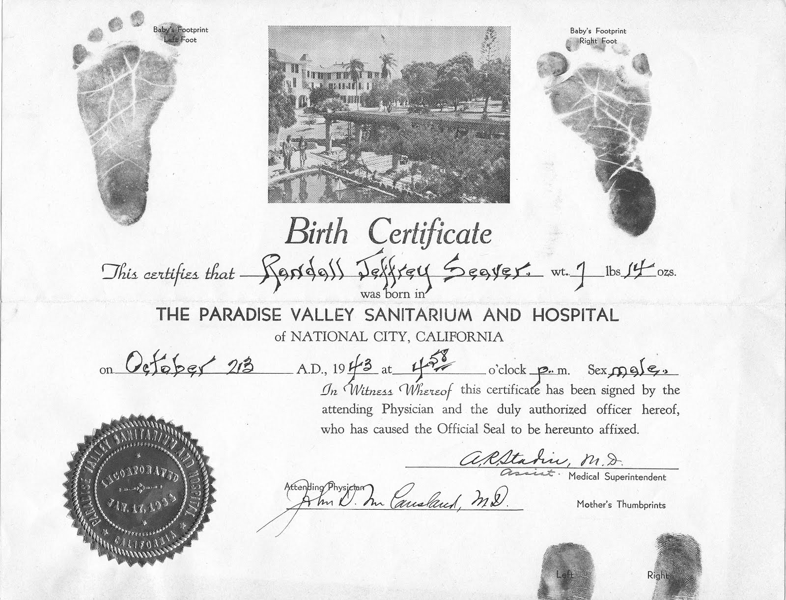 Genea musings cousins release birth certificates to media everything on that is handwritten and it has my footprints and my mothers thumbprints on it of course it doesnt list my parents aiddatafo Gallery