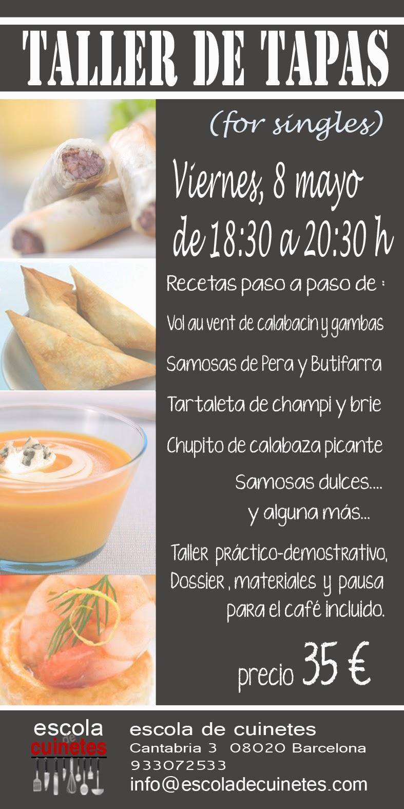 Escola de cuinetes talleres de cocina de mayo 2015 for Curso de cocina para solteros