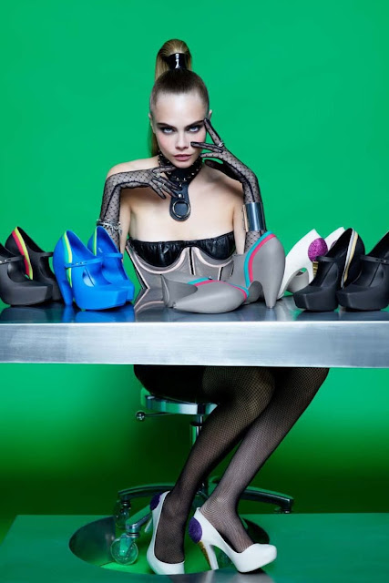 Karl's chosen model Cara Delevingne in his new Melissa shoe campaign.