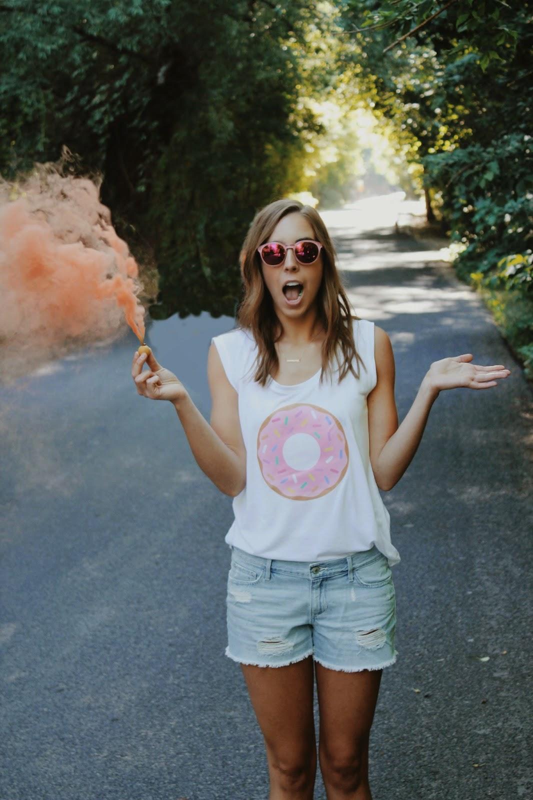 target, donut t shirt, jean cut offs, smoke bomb, girl, sun, donut, doughnut