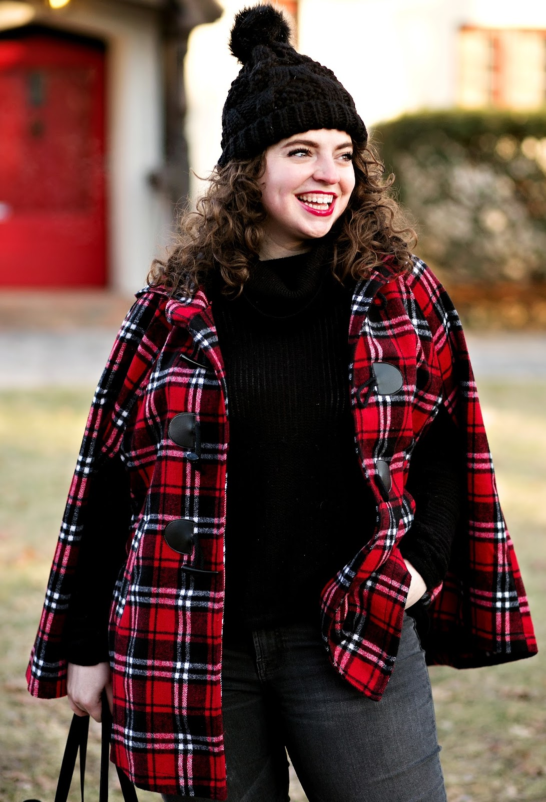 Red plaid cape outfit that shows you can stay stylish and warm!