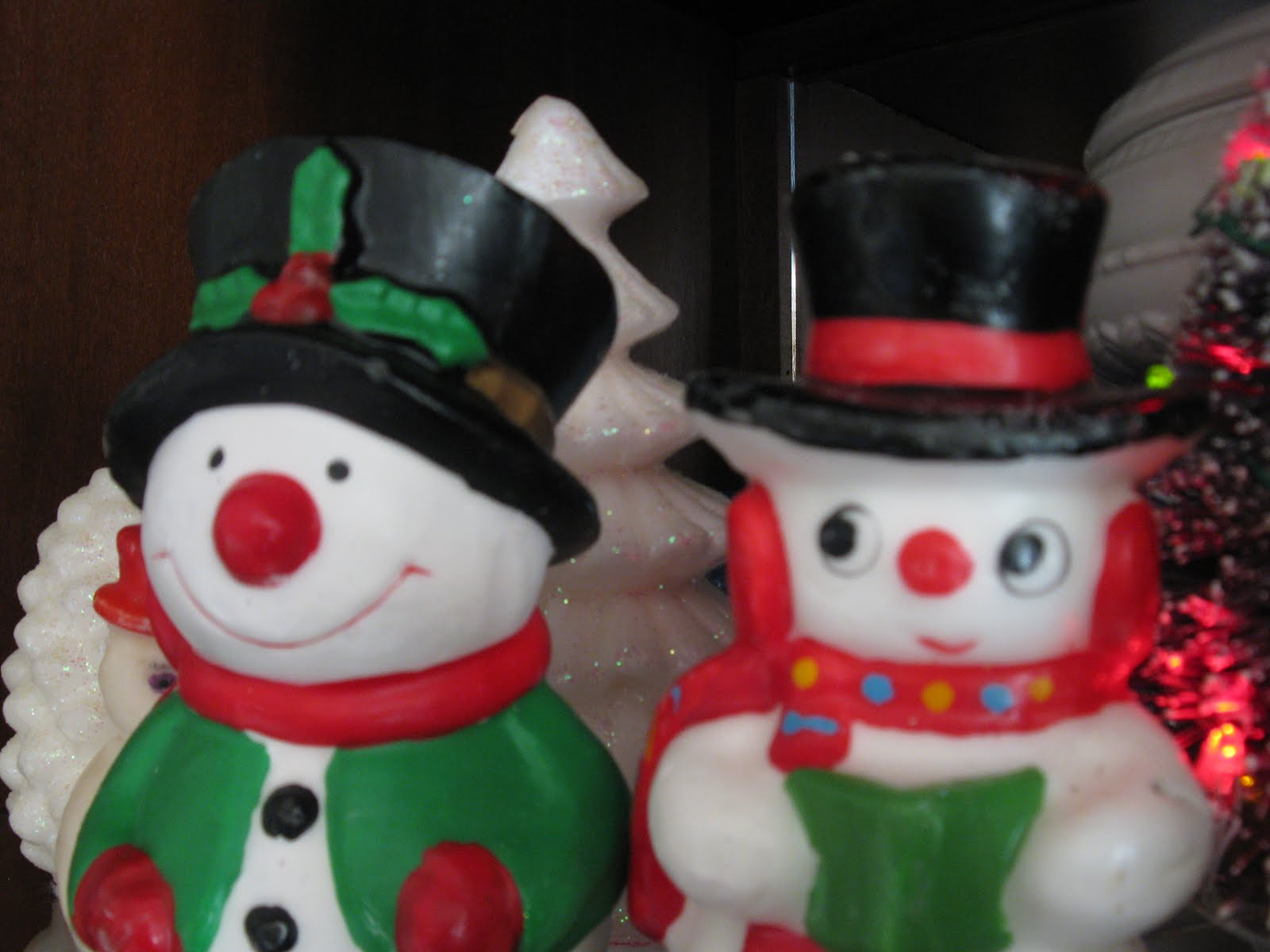 Vintage Wax Snowmen