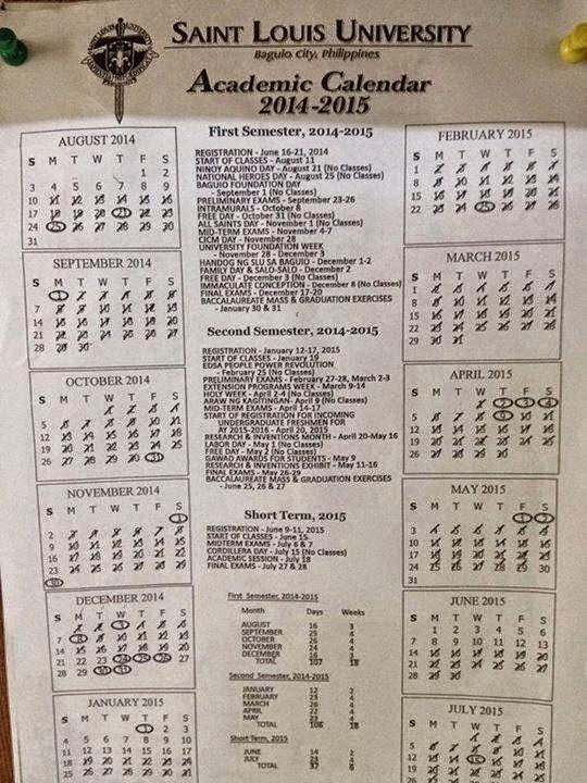 Clark University Academic Calendar >> Saint Louis University, Baguio City Philippines Academic Calendar 2014-2015 ~ Villehem