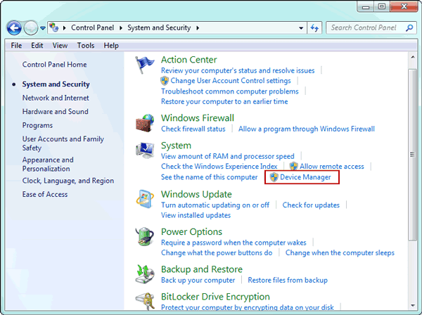 open Device Manager to manage sound driver