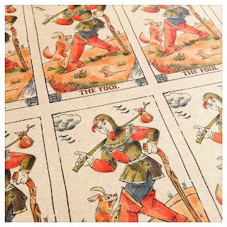 Printed sheet of The Fool for the production of the Curio & Co Tarot of Musterberg - In the spirit of the Marseille tarot  - design and illustration by Cesare Asaro - Curio & Co. (Curio and Co. OG - www.curioandco.com)