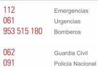 Teléfonos de Urgencias.