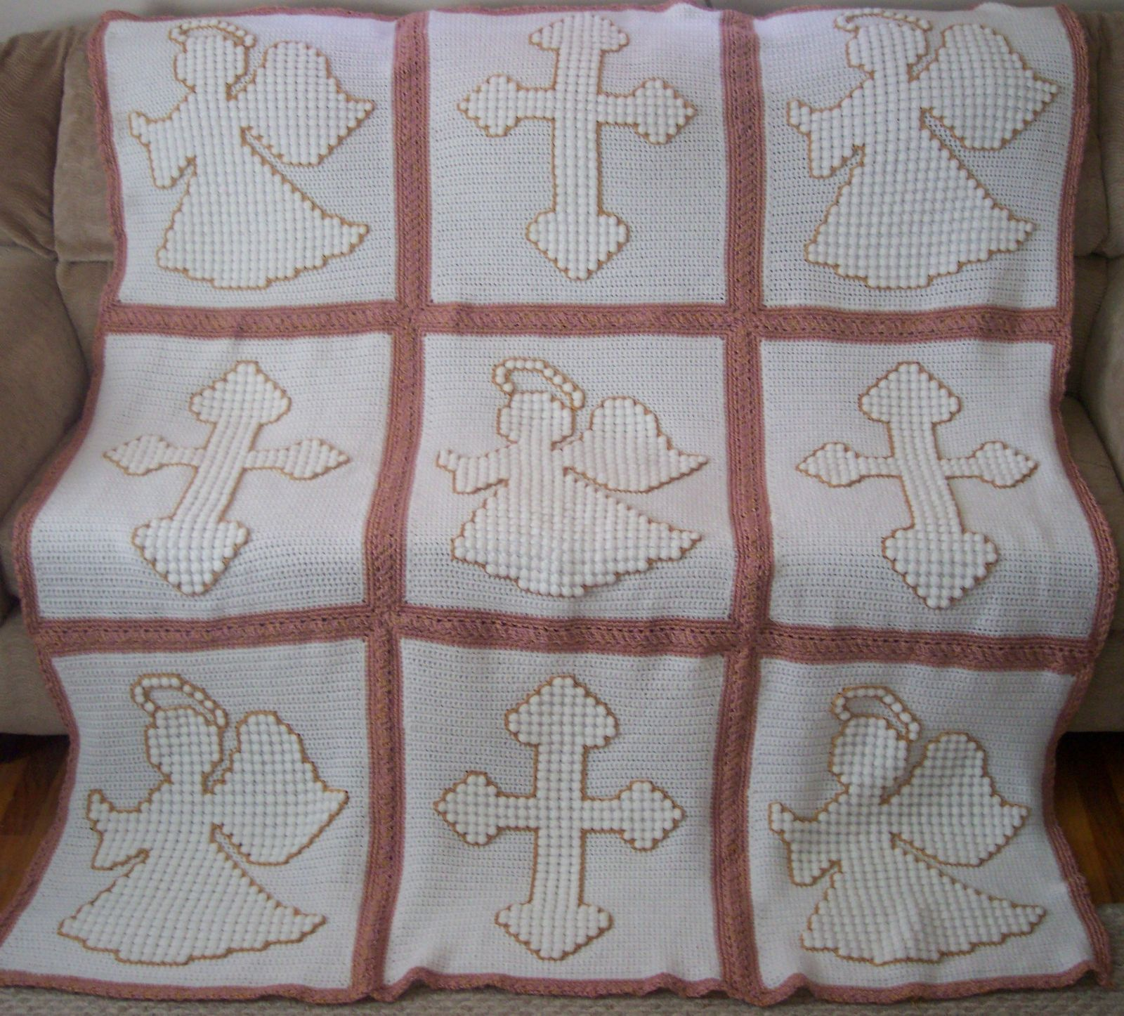 Crochet Cross Afghan Pattern Free : Yarn - Caron Simply Soft