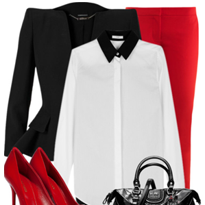 Black blazer, white shirt, red pants and red high heels