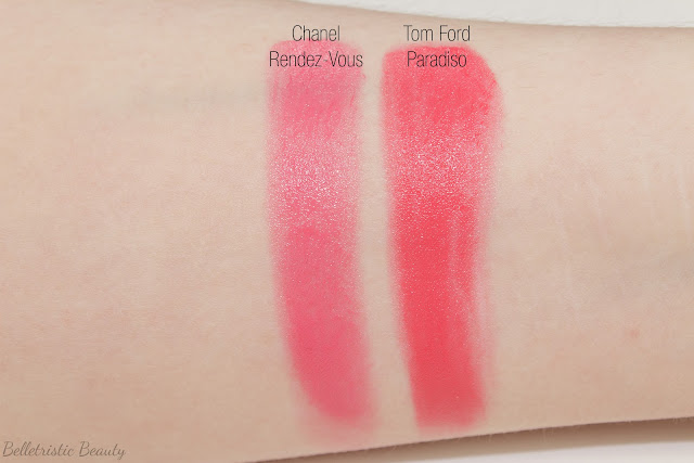 Tom Ford Paradiso 07 7 Lip Color Sheers Lipstick swatches comparison, Spring 2014, Collection with forced flash in studio lighting