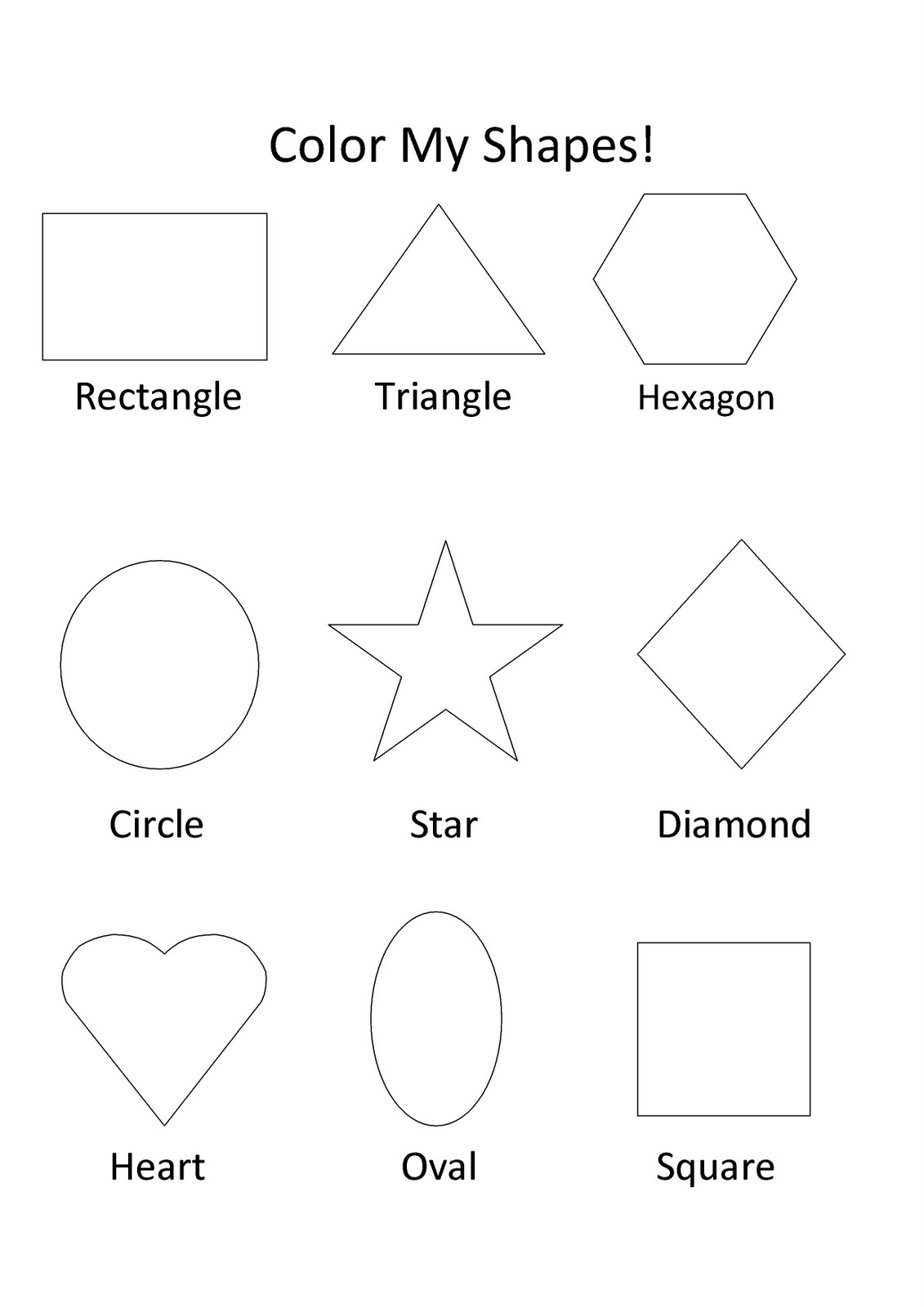 Preschool Shapes Coloring Pages : Free Printable Shapes Coloring Pages