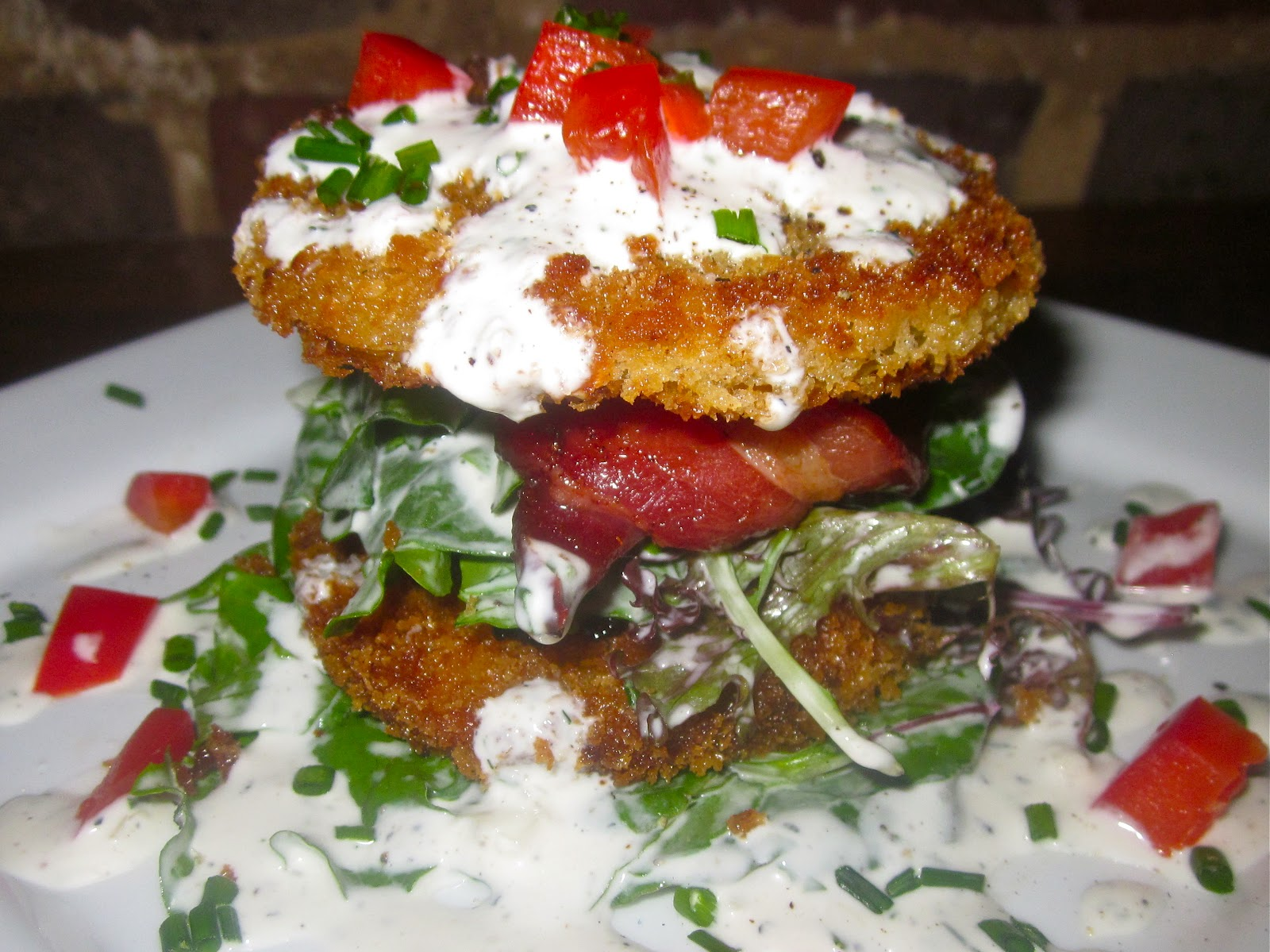 ... Green Tomato BLT Salad with Candied Bacon & Buttermilk Ranch Dressing