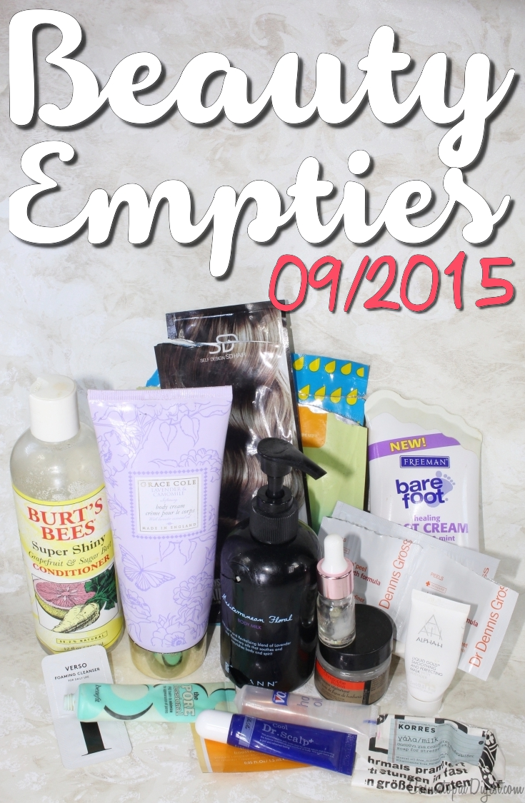Here are the beauty, skincare, hair care and makeup products I emptied in September 2015 and quick impressions of each.