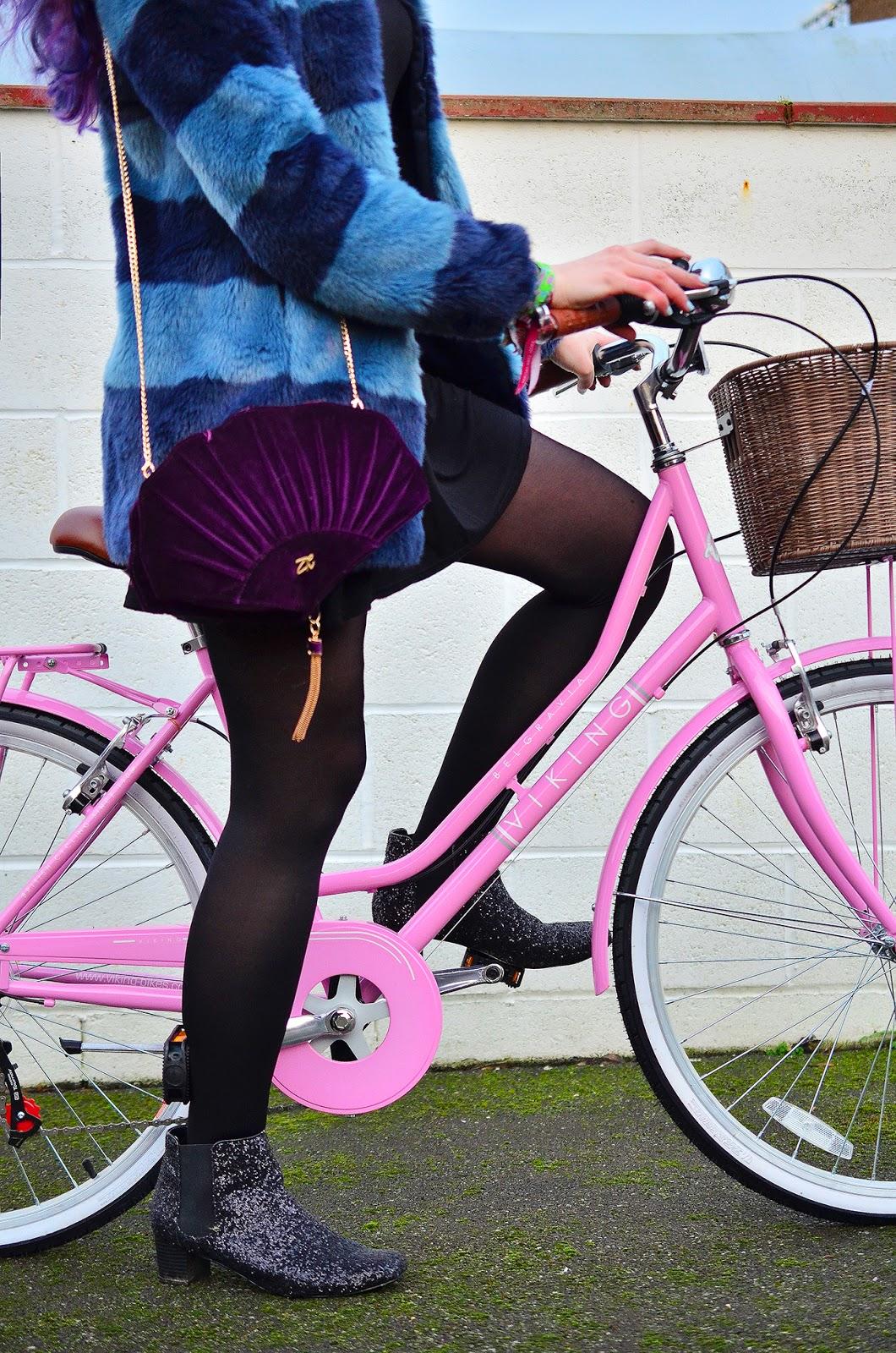 Blue Fur Coat Boden Pink Bike Outfit