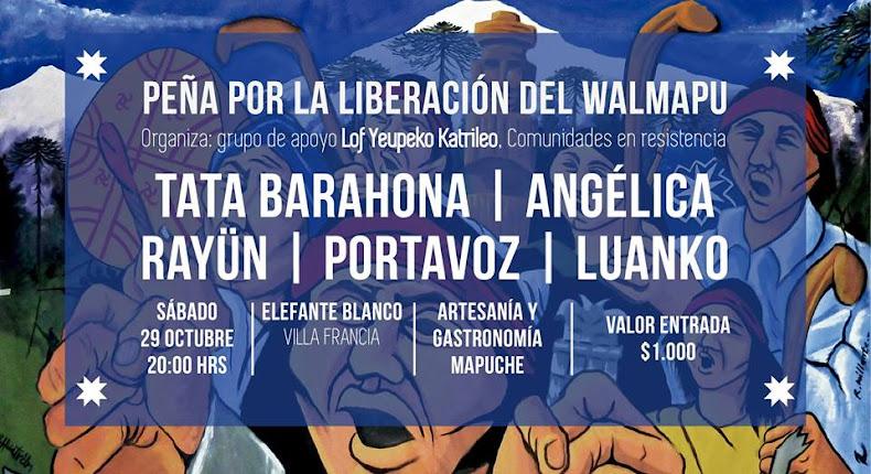 ESTACIÓN CENTRAL:  PEÑA POR LA  LIBERACIÓN DEL WALMAPU