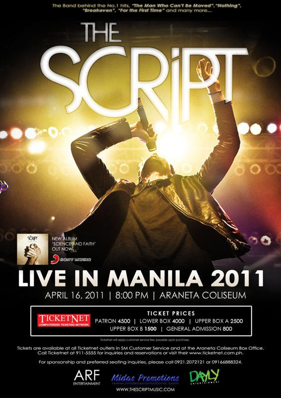 "vocalist script. ""The Script LIVE in Manila"""