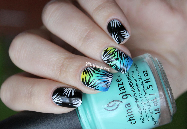 Nail Art Simple Tropical Glitterfingersss In English
