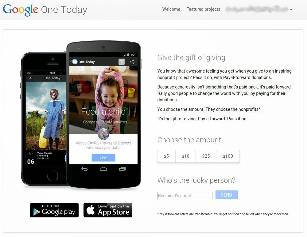 image from google one today pay-it-forward service