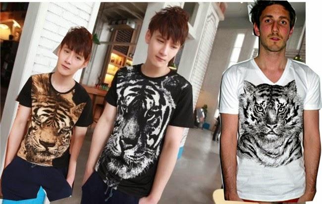 roupas masculinas, moda masculina, camisetas personalizadas, estampa tigre