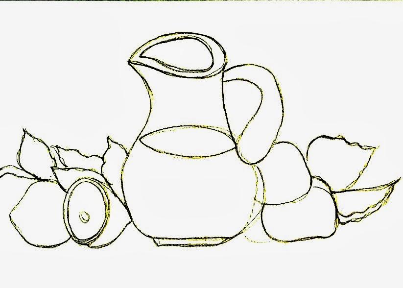 desenho de jarra de suco de limão para pintar em semaninha de panos de copa