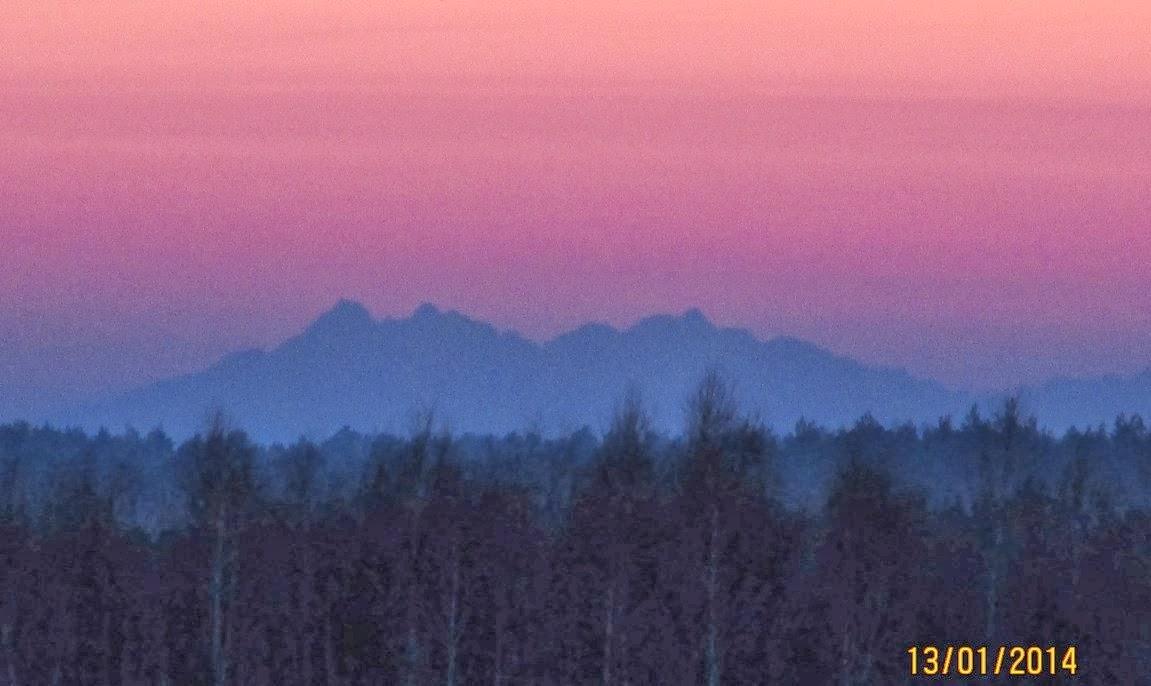 Widok na Tatry z Kosów, Kolbuszowa, dalekie obserwacje, Płaskowyż Kolbuszowski, Puszcza Sandomierska