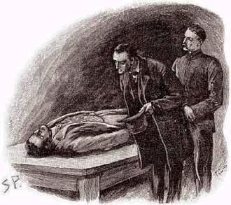 "Sherlock Holmes looks over a body in ""They Reigate Squire"" as illustrated by Sidney Paget"