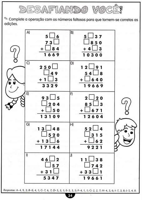 atividades de matematica adição 4 ano