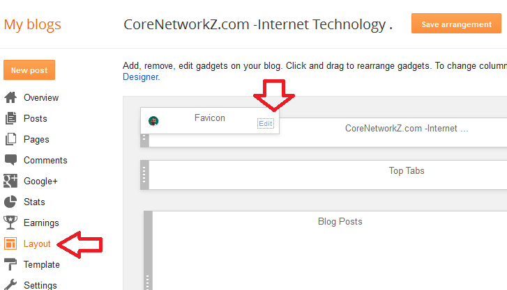 Upload Blogger custom favicon