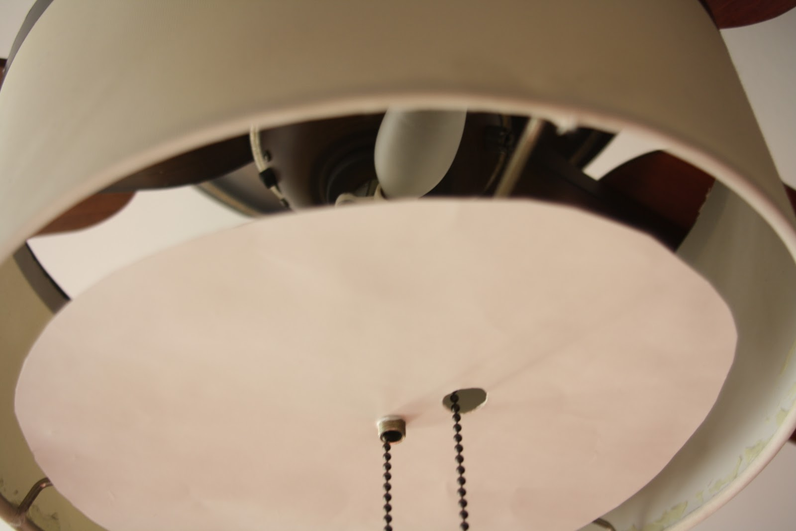 attaching the temporary diy diffuser for ceiling fan makeover