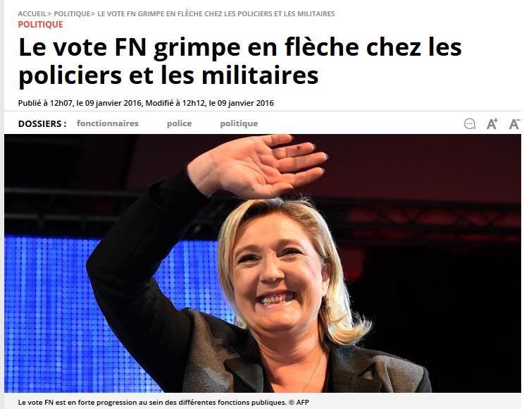 Le vote FN grimpe en flèche chez les policiers et les militaires