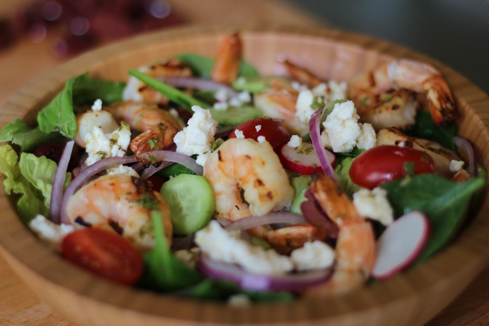 Greek Salad with Grilled Shrimp   Erica Shaw