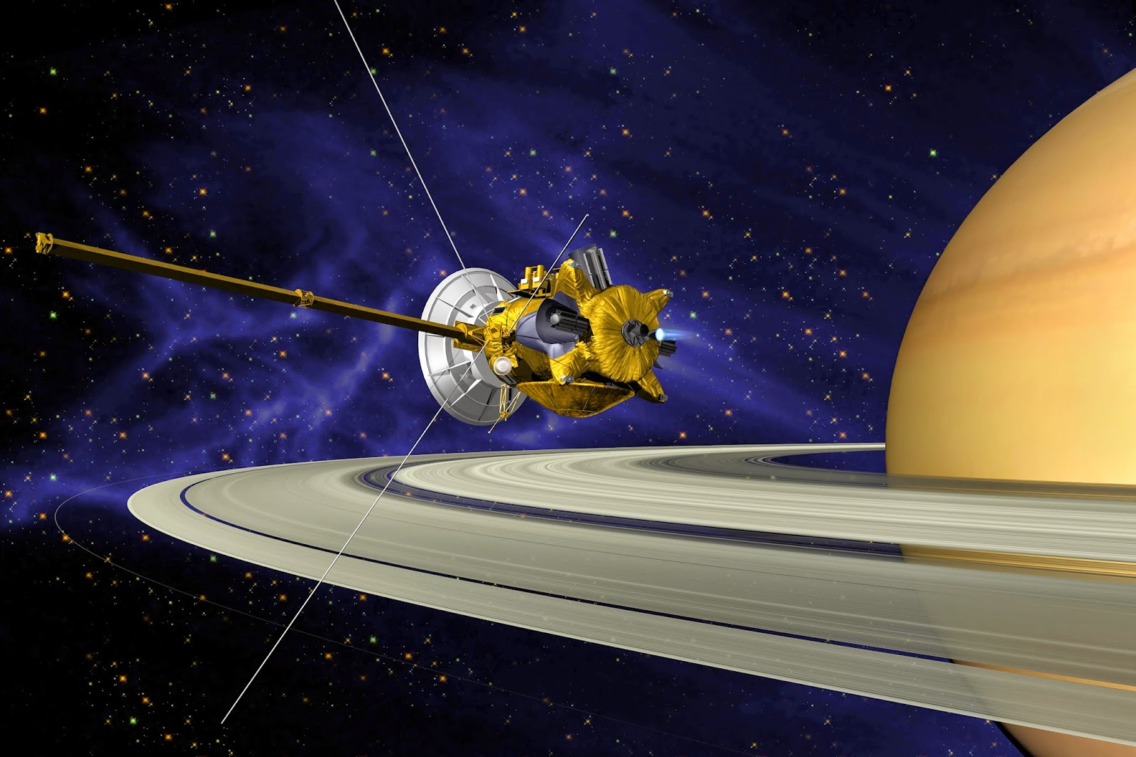 This is an artist's concept of Cassini spacecraft during the Saturn Orbit Insertion (SOI) maneuver, just after the main engine has begun firing. Credit: NASA/JPL