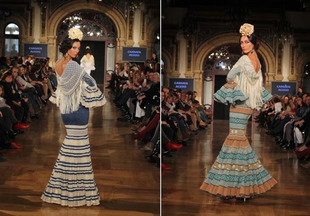Los trajes canasteros de Carmen Acedo la mantienen fiel a su estilo. Eso sí, este año innova introduciendo más colorido. El resultado son preciosos vestidos