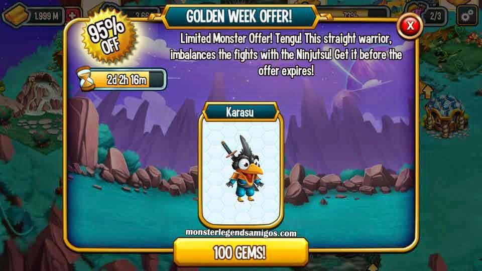 imagen de la oferta del monstruo karasu de monster legends ios
