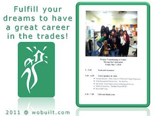 Women Transitioning to Trades George Brown College flyer, by wobuilt.com