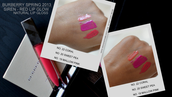 Burberry Spring Summer 2013 Makeup Collection Siren Red Indian Beauty Blog Lip Glow Natural Lipgloss Swatches Mallow Pink 19 Coral 22 20 Sweet Pea