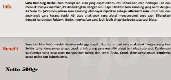 Jual Susu Kambing Herbal Zain Pekanbaru