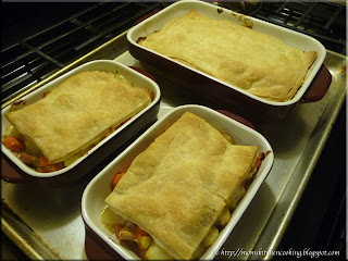 chicken pot pie fresh from the oven