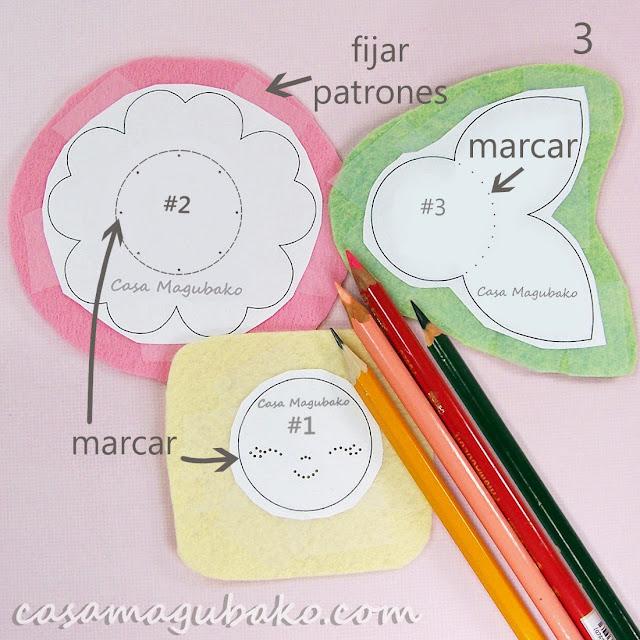 Flor en Fieltro - Fijar Patrones y Marcar Fieltro by casamagubako.com